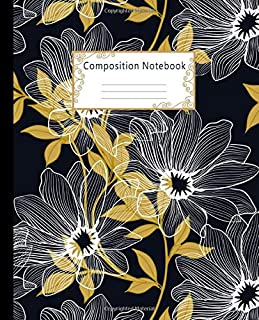 Composition Notebook: Wide Ruled Lined Paper Notebook Journal: Golden Leaves and Flowers Workbook for Boys Girls Kids Teens Students for Back to School and Home College Writing Notes