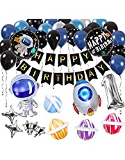 Innoo Tech Space Party Supplies - Outer Space Party Decorations Solar System Happy Birthday Banner Rocket Balloons Astronaut Balloon Latex Balloons Strip Set for Birthday Party Baby