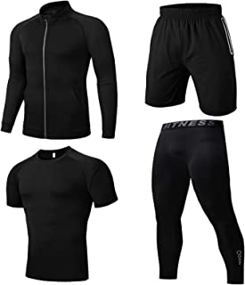 Fitness Clothes Men's Suit Sports Quick-Drying Clothes Tight-Fitting Exercise Morning Running Basketball Ice Silk Autumn M...