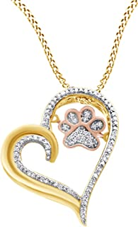 White Natural Diamond Paw Print Heart Pendant Necklace in 925 Sterling Silver & 10K Solid Gold (0.1 Cttw)