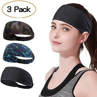 Cheelom 3 Pack Bandas para la Cabeza Deportivas Sweat Band Hairband para Hombres Mujeres Correr, Baloncesto, fútbol, Tenis, Ciclismo, Cardio, Ejercicio de Gimnasio, Entrenamiento Deportes Diadema