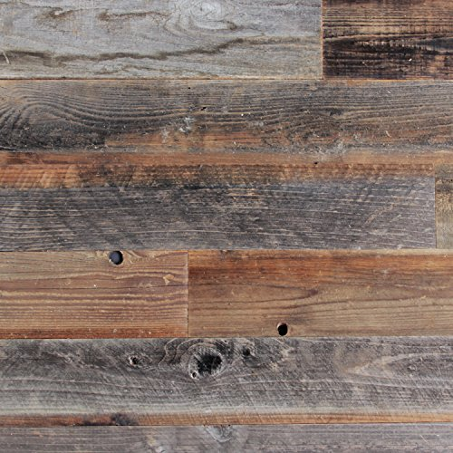 """Plank and Mill - Reclaimed Barn Wood Wall Panels - Simple Peel and Stick Planks for Accent Walls, Kitchens, and Other Projects - 20 Square Feet of 5"""" Wide: Classic Barn Wood"""