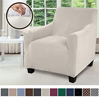 Gorilla Grip Original Velvet Fitted 1 Piece Chair Slipcover, Stretch Up to 23 Inches, Soft Velvety Covers, Luxury Armchair Slip Cover, Spandex Chairs Furniture Protector, with Fasteners, Soft Linen