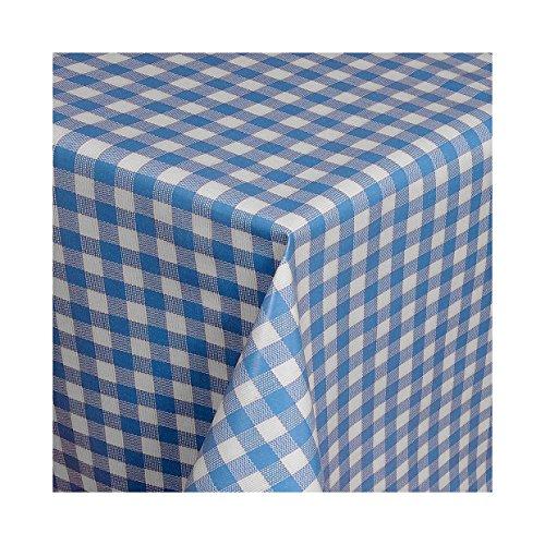 WACHSTUCH Tischdecken Wachstischdecke Gartentischdecke, Abwaschbar Meterware, Länge wählbar,Klein Kariert Blau Weiß (112-01) 100cm x 140cm