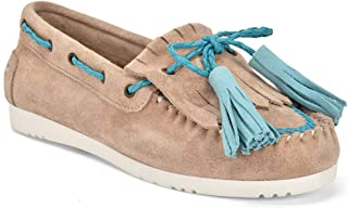 Five Tribe Women's Unique Suede Moccasin Loafer
