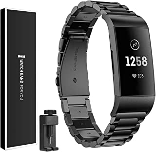 Watbro Stainless Steel Band Compatible with Fitbit Charge 3/Charge3 SE, Quick Release Solid Metal Stainless Steel Watchband, Bracelet Strap with Folding Clasp for Fitbit Charge 3/Charge3 SE, Black