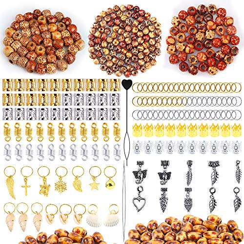 PP OPOUNT 587 Pieces Dreadlocks Beads DIY Hair Braid Accessories with 3 Sizes Natural Painted Wood Beads, Braid Rings Hair Hoops, Dreadlocks Beads and Hair Clips for Hair Decoration