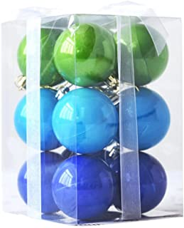 bbhoeny Plating Shockproof Christmas Hanging Ornaments Ball Colorful Balls Decorations Pendant Pack of 12PCS (2.4inch, Blue Green Style)