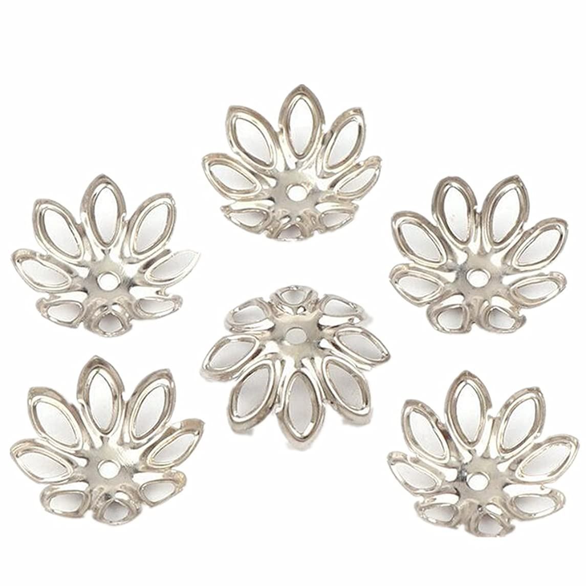 500PCS 15mm Gold Tone Flower Bead Caps Hollow Flower Bead Caps For Jewelry Making (white k)