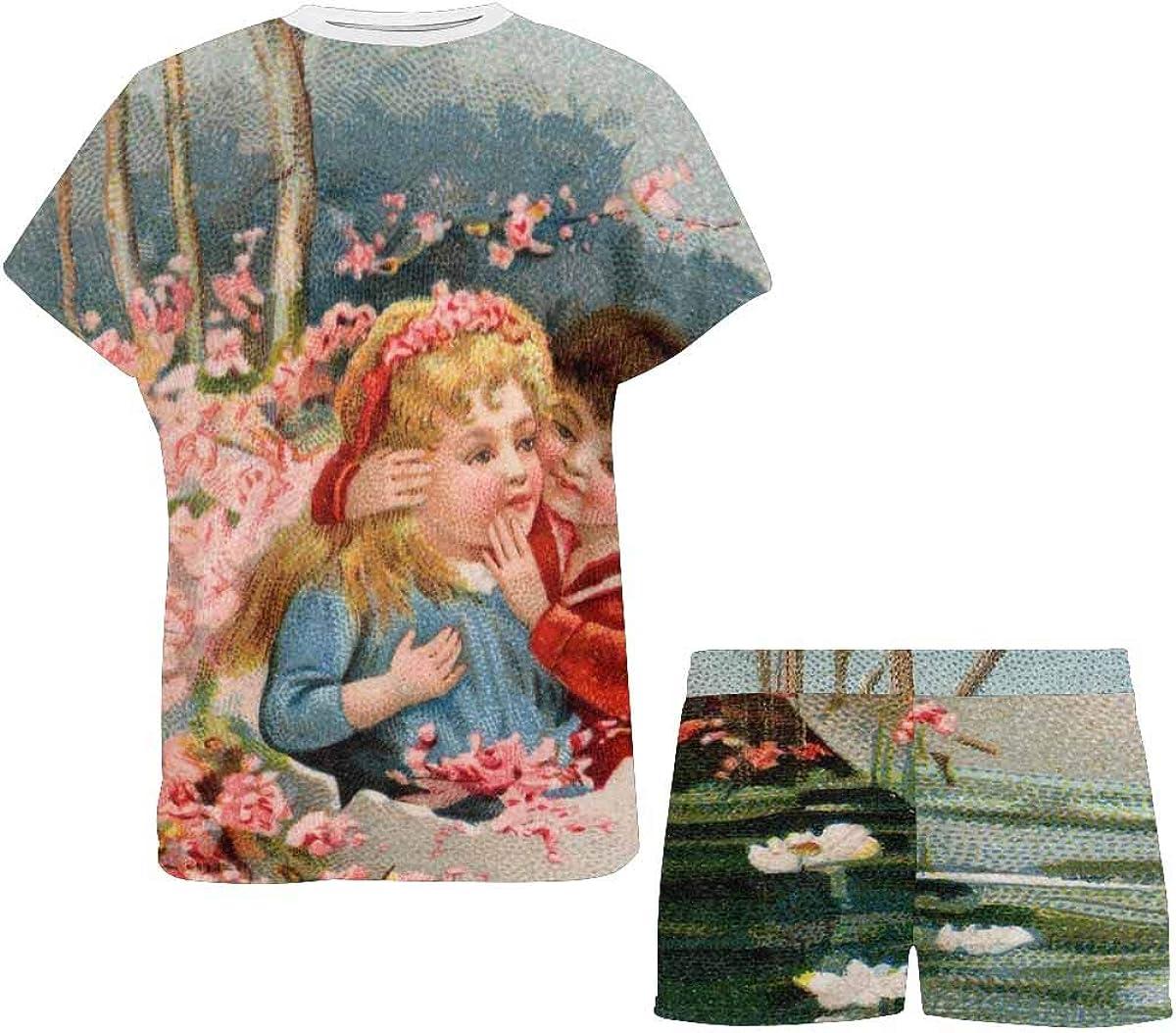 INTERESTPRINT Vintage Easter Rabbit Lake Women's Breathable 2 Piece Shorts Pajama Sleepwear Set
