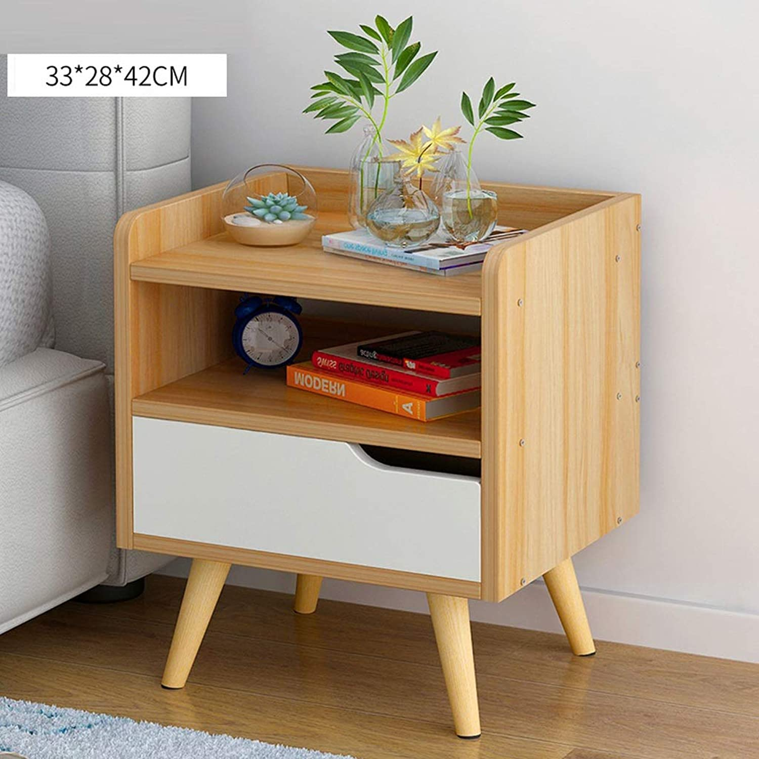 BJLWTQ Nightstand Bedside Cabinet Wood Bedside Table with Drawer Bedroom Storage Cabinet Locker Bed Small Cabinet Nightstand (color   Wood, Size   B)