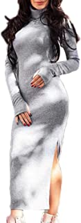 PERSUN Women's High Neck Dress Sexy Long Sleeve Knit Bodycon Midi Dress