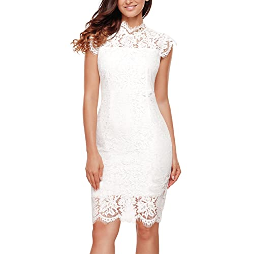 11a1129d413 Women s Sleeveless Lace Floral Elegant Cocktail Dress Crew Neck Knee Length  for Party