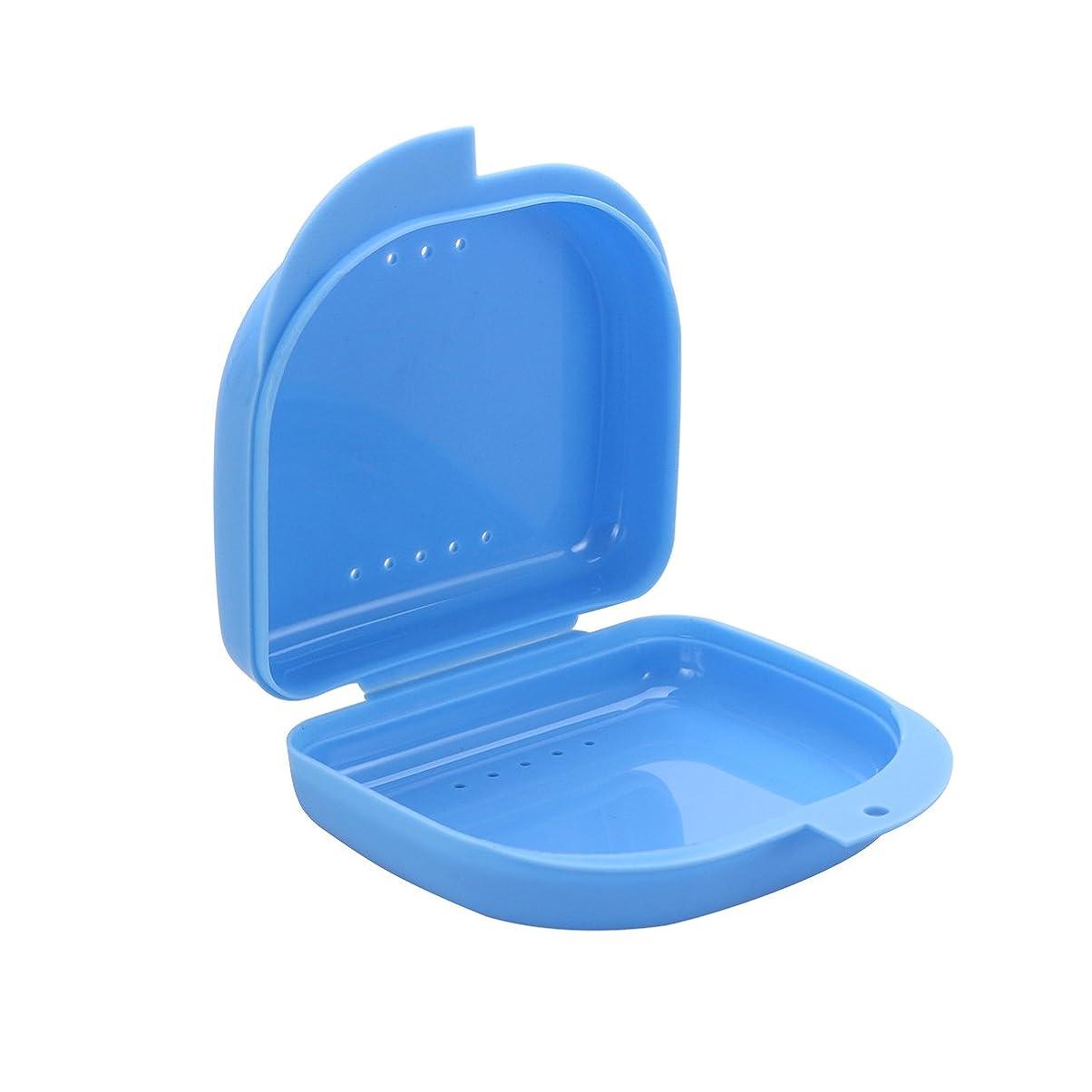 雄大なバドミントン七時半ROSENICE 義歯ケース口ガードケース義歯ボックス義歯収納容器(青)
