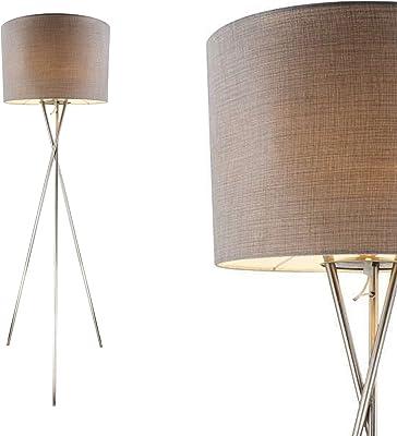 Lampadaire de salon gris avec abat-jour en tissu de 21 cm, trépied (abat-jour en textile, lampe de salon, rétro, hauteur 160 cm)