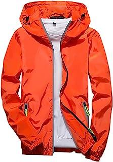 LOPILY Mens Reflective Zipper Active Outdoor Hooded Windbreaker Solid Color Men's Casual Windproof Jacket Coat