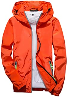 FRAUIT Giacca A Vento Uomo Trekking Traspirante Giacche Impermeabile Ragazzo Leggera Taglie Forti Plus Size Oversize Hoode...