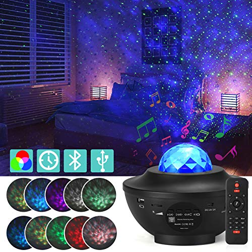 Galaxy Star Projector, Starry Projector Light with 21 Lighting Modes with Remote Control& Built-in Music Player Ocean Wave Star Projector/LED Nebula Cloud As Gifts for Kids Adults for Bedroom