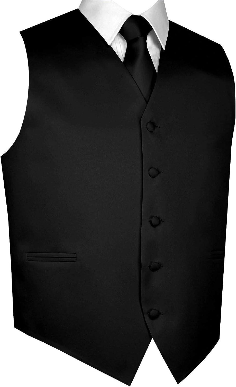 Men's Formal, Tuxedo, Wedding, Prom, Cruise Vest, Tie & Hankie Set (2XL, Black)