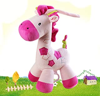 Giraffe Toys Infant Educational Musical Pull Baby Doll Super Soft Baby Toy Pink