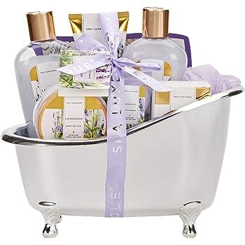 Spa Luxetique Spa Gift Baskets for Women, Lavender Bath Sets for Women, Luxury 8 Pcs Home Bath Gift Set Includes Body Lotion, Bath Bombs, Bath Salt, Bubble Bath, Best Spa Gift Set for Women.