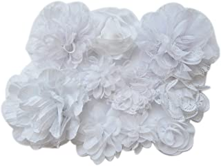 YYCRAFT 15pcs White Chiffon Flower for Girls Headband Baby Flowers Bows,Crafts,Party Decoration(2