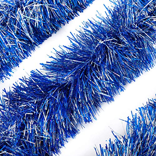 Alonsoo 3Pcs x 6.6ft Christmas Tinsel Garland, Christmas Tree Ornaments Home Party Classic Shiny Sparkly Ceiling Hanging Decorations,5 inch Wide Filaments Blue