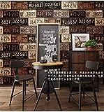 Papel pintado bar restaurante restaurante tienda de ropa creativo industrial viento papel pintado retro nostálgico personalidad matrícula hierro papel pintado personalidad marrón