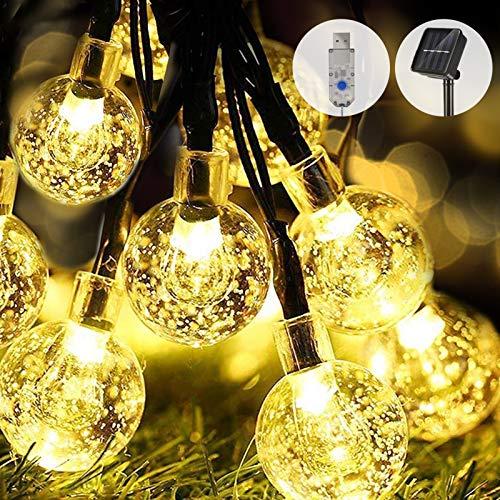WOWDSGN Solar Lichterkette Außen, 60er LED 9M 8 Modi Kristallkugeln Lichterkette, Wasserdicht Deko für Garten, Terrasse, Fenster, Veranda, Weihnachten, Partys, Warmweiß