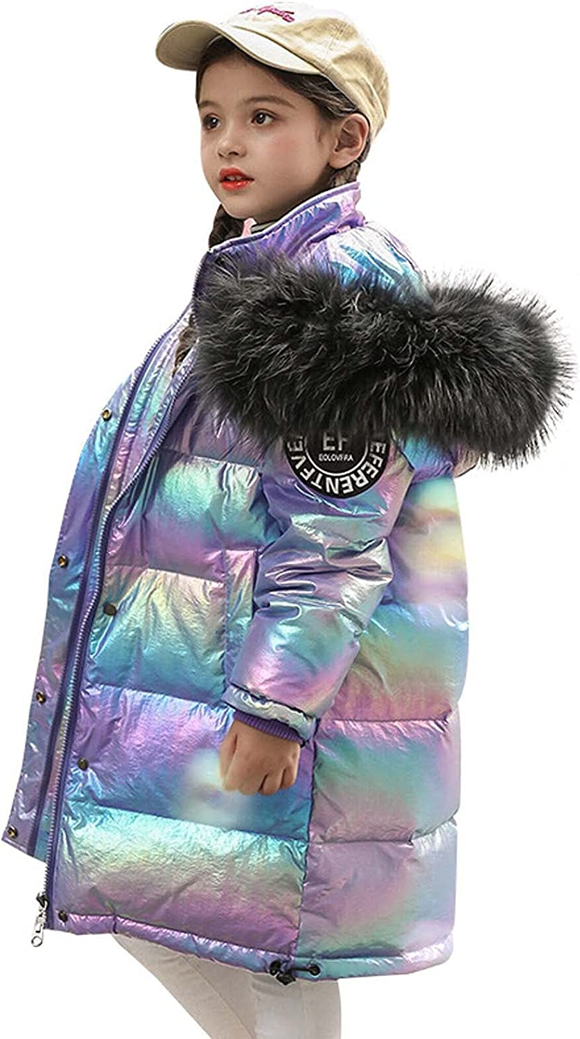 Raletyk Children Thicken Hooded Puffer Down Winter Colorful Trend Warm Down Coat Overcoat Outerwear for Boys and Girls
