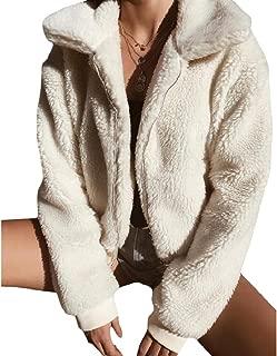 RkBaoye Womens Velvet Short Pockets Lapel Zip Long-Sleeve Coat Jacket
