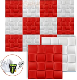 Acepunch New 24 Pieces of White & Red 30CM X 30CM 16 Cube Design Textured PVC Waterproof Scratch-resistant 3D Wall Panels ...