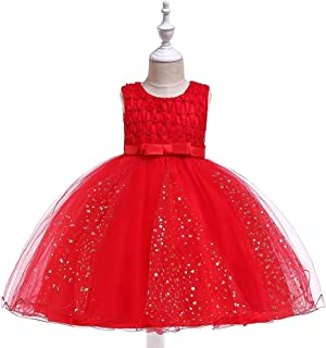 SEASHORE Costume Girl Bow Princess Dress lace Flower Girl Wedding Performance Piano Costume 4-12 Years Old (Color : Red, Size : 10-11T)