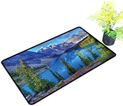 Large Outdoor Door Mats Wenkchemna Peaks Reflection on Moraine Lake,Banff,Rocly Mountain,Canada Use for Entrance Outside Doormat Patio W23 x H17 INCH
