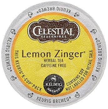 Celestial Seasonings Lemon Zinger Herbal Tea K-Cup Portion Pack for Keurig K-Cup Brewers 24-Count  Pack of 2