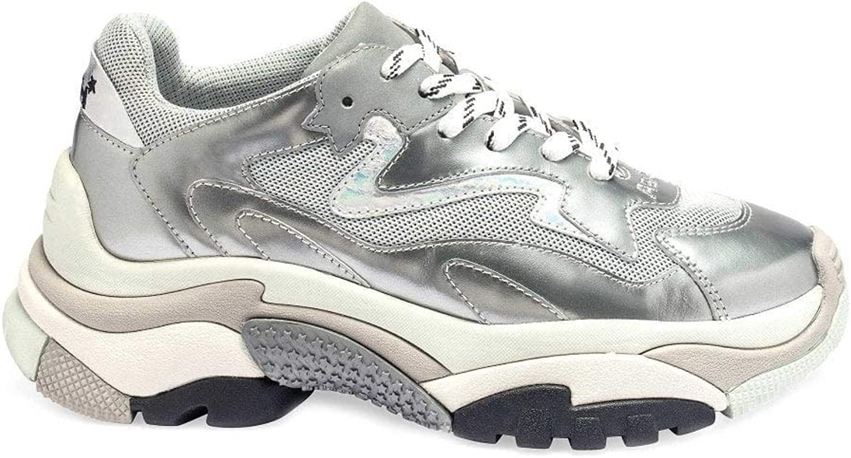 ASH Footwear Addict Leder- und Netzschuhe Grau Silber 38 Silber Silber  große rabattpreise