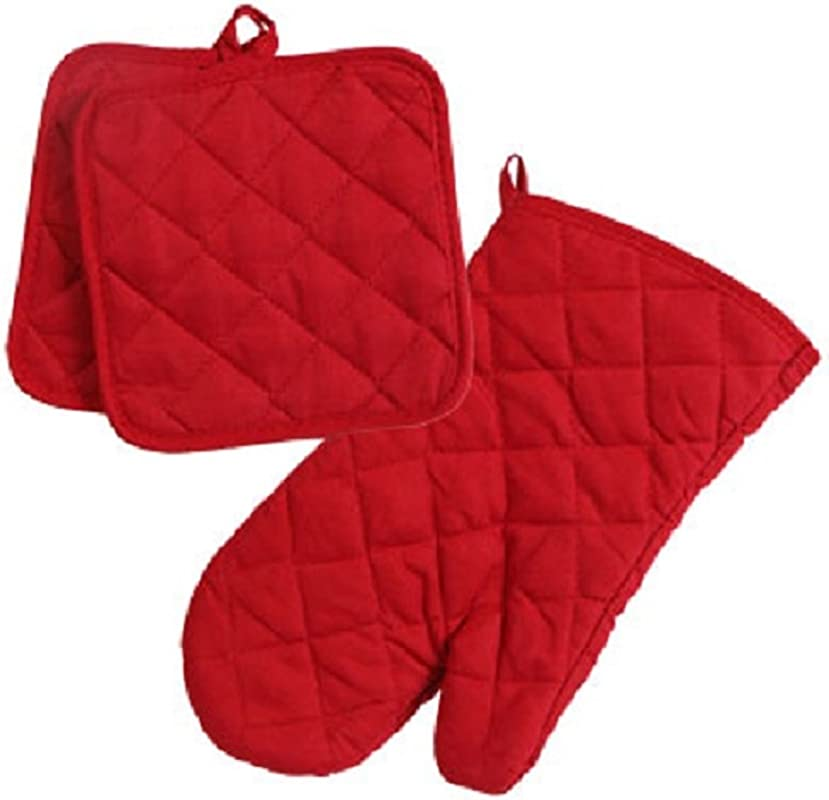 Home Collection Red 3pc Set Oven Mitt Potholders