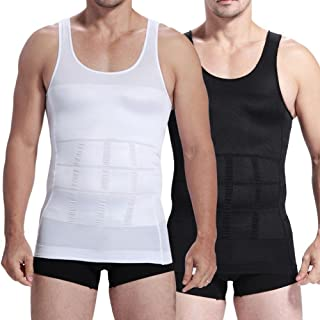 2pcs Mens Compression Slimming Body Shaper Undershirt - Blk/White + Gift