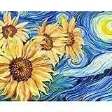 Gronda Pintura por números Adultos DIY Flores Pintura Girasoles Luna amarilla Noche azul Van Gogh La noche estrellada Imagen Decoración colorida con accesorios Pluma Color Lienzo 50x40 cm