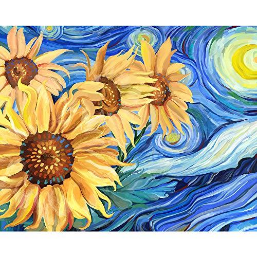 Gronda Pintura por números Adultos DIY Flores Pintura Girasoles Luna amarilla Noche azul Van Gogh La noche estrellada Imagen...