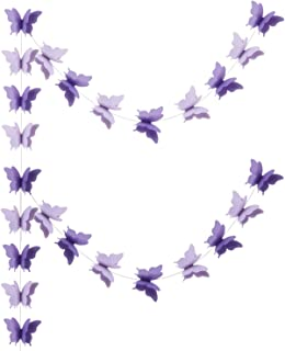 zilue Butterfly Banner Decorative Paper Garland for Wedding, Baby Shower, Birthday & Theme Decor 110 Inches Long Set of 2 Pieces Lightpurple