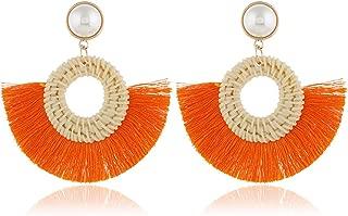 Tassel Earrings for Women Weave Rattan Earrings Statement Braid Straw Wicker Drop Earrings Bohemia Fringe Dangle Earring for Girls