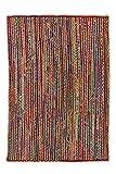 Alfombra de Yute rectangular Multicolor Mexi, alfombra natural de fibra de yute y algodón tejida a mano con fundamentos de comercio justo - Alfombra de salón, dormitorio, pasillos, exterior (90, 60)