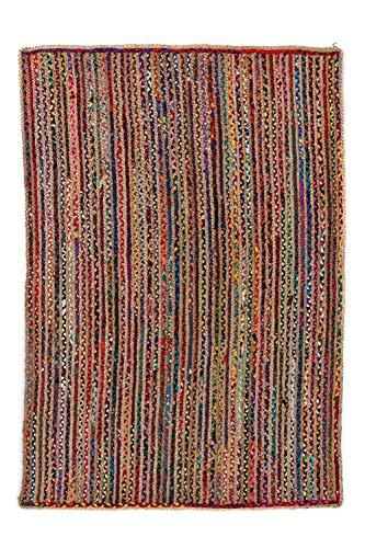 Alfombra de Yute rectangular Multicolor Mexi, alfombra natural de fibra de yute y algodón tejida a mano con fundamentos de comercio justo - Alfombra de salón, dormitorio, pasillos, exterior (200, 150)