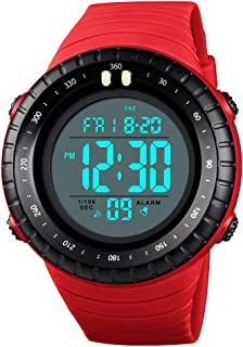 TONSHEN Large Dial Sport Watch for Men and Women 50M Waterproof Outdoor Military LED Electronic Double Time Multifunction Plastic Digital Watches with Rubber Band (Red)