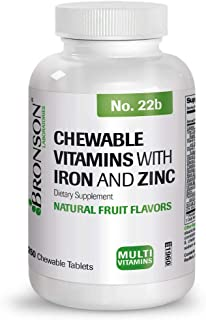 Bronson Chewable Vitamins with Iron and Zinc, 250 Chewable Tablets