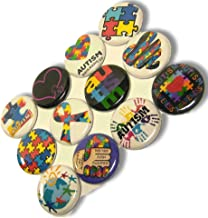 """Custom & Novelty {1"""" Inch} 12 Bulk Pack, Mid-Size Button Pin-Back Badges for Unique Clothing Accents, Made of Rust-Proof Metal w/Vintage Autism Awareness Cartoon Puzzle Set Art Style [Multicolor]"""