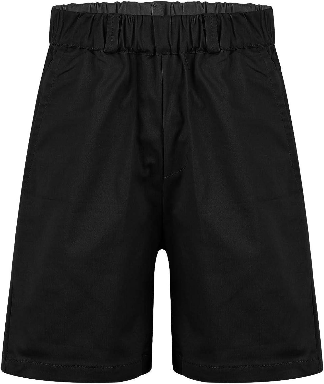 TiaoBug Kids Boys Pull-on Shorts Basic Elastic Waist School Uniform Flat-Front Chino Shorts Summer Casual Daily Wear