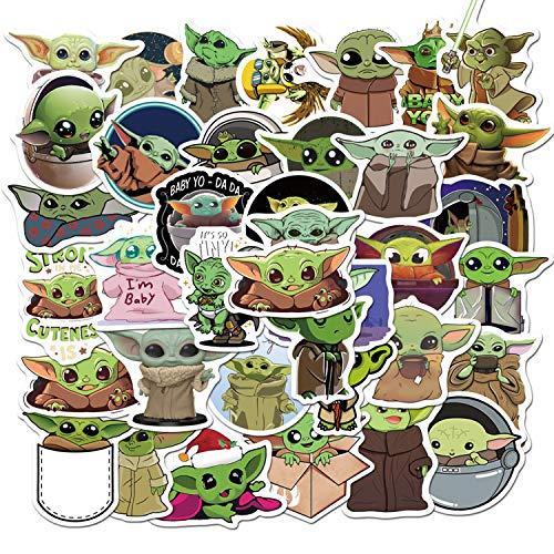 """(50 Pcs) Yoda Baby""""Star Wars""""Cartoon Mix Graffiti Sticker for Laptop Car Kids Book Skateboard Moto Bike"""