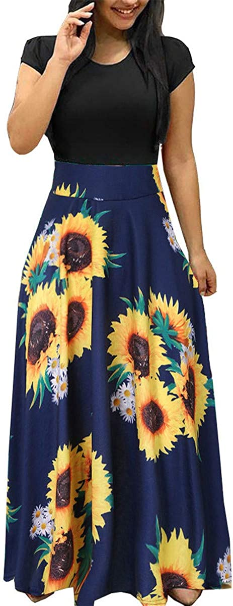 Womens Long Sleeve Maxi Ranking integrated 1st place Dress Round Casual Print Neck Tun Floral Denver Mall